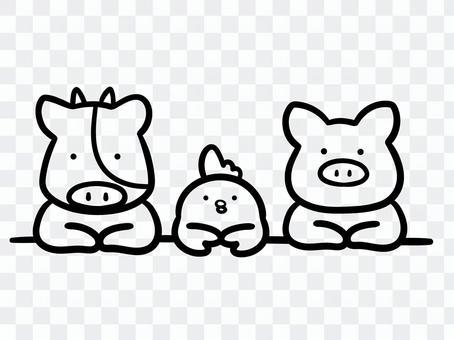 Illustration of livestock seen through the counter