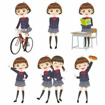Junior high school student life life pose collection