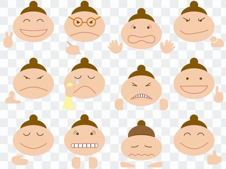 Various facial expressions / face + hands [bun hair]