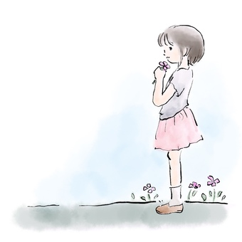 Girl standing with flowers