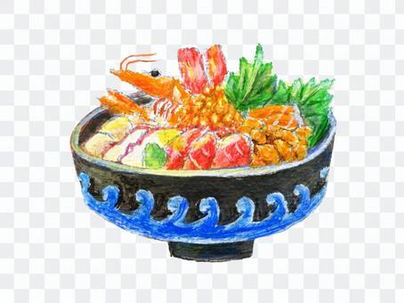 一碗米飯配上生魚片