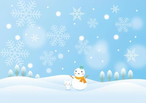 冬天的雪人和小貓的場景