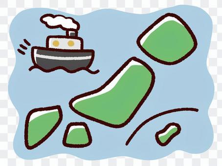 手描きのデフォルメの日本と船