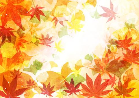 油彩楓葉銀杏秋葉背景