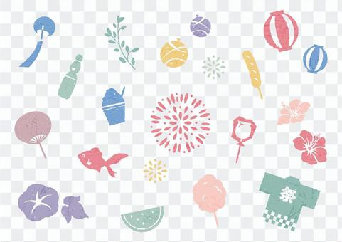 Joyful icon set for summer festivals