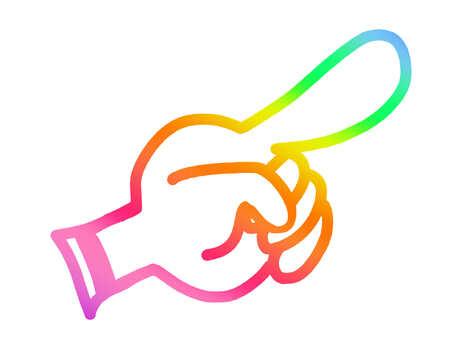 Rainbow [pointing finger] finger finger