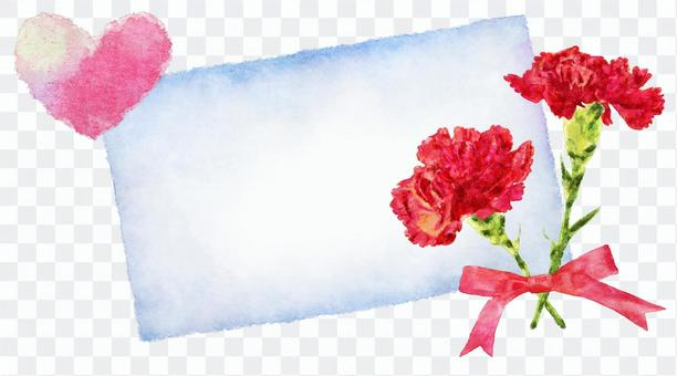 康乃馨水彩留言卡