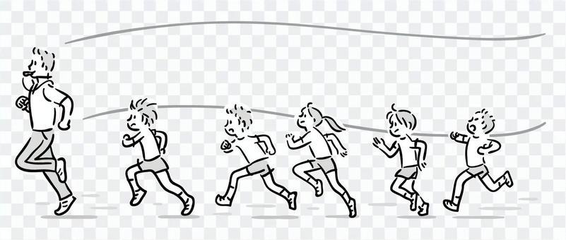 老師和孩子們用手輕輕跑