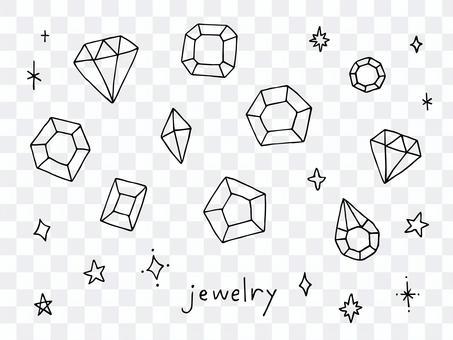 各種珠寶的手寫插圖
