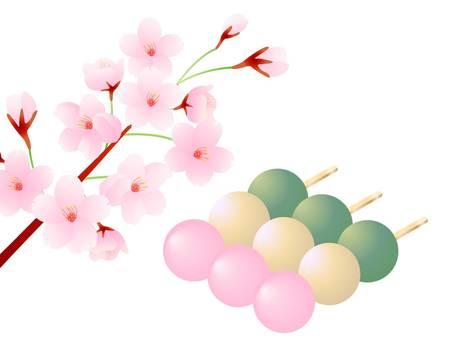 三個三色餃子和櫻花的插圖
