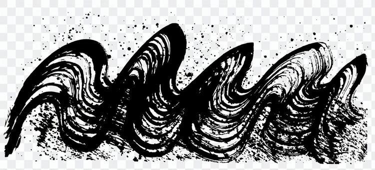 波浪飛濺手寫刷子例證