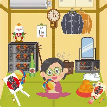 在元旦,在日式房間玩紙風船的女人