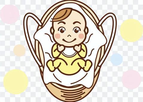 嬰兒在籃子裡