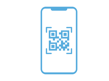 The screen of the smartphone reading the QR code
