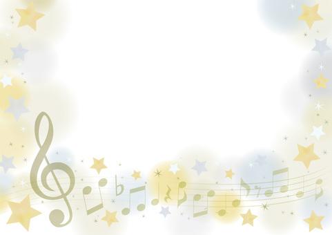Elegant music frame of gold & silver stars