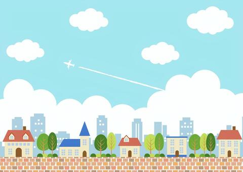 藍藍的天空城市背景水平