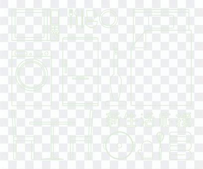 新生活応援の線画 手書きクレヨン風