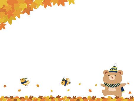 Autumn leaves, bear and bird frame