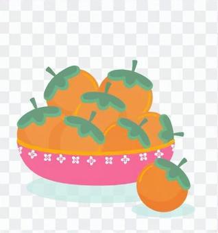 柿子從盤子上掉下來