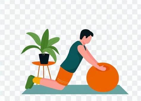 男子使用平衡球