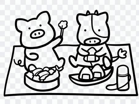 ピクニックする家畜たちのイラスト