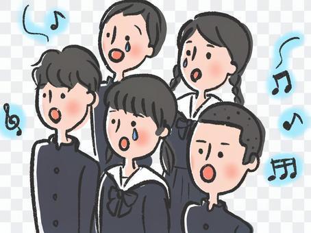 學生們在哭的同時合唱