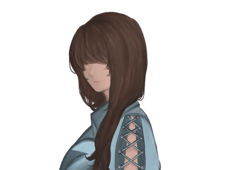 Eyeless female bust-up illustration