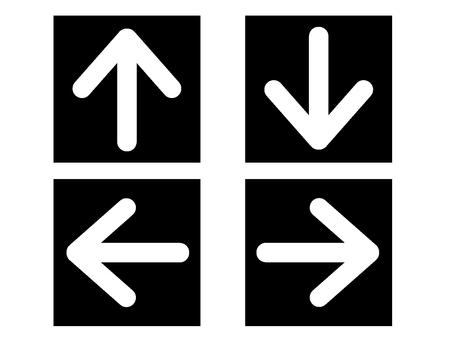 左/右/上/下箭頭設置方形黑色白色