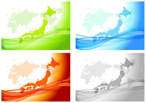 日本和世界地圖數字背景框架集