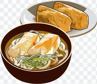 里基烏冬面和稻荷壽司