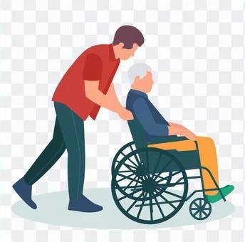 男子推輪椅