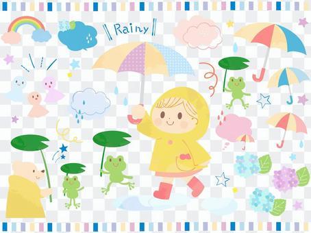 かわいい梅雨の子供とかえるのイラスト