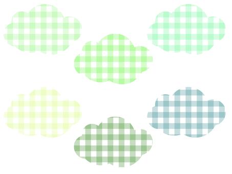 方格格紋雲彩套裝:綠色