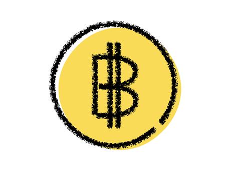 蠟筆手寫比特幣圖標黑色 x 黃色