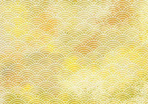 青海波浪水彩佈置背景素材