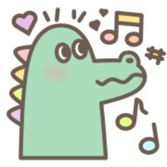 Crocodile animal face animal musical note heart