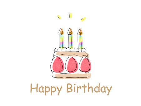 Hand-painted cute cake birthday card