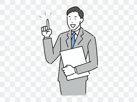 Business person explaining the points