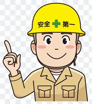 A man with a helmet wearing a worker