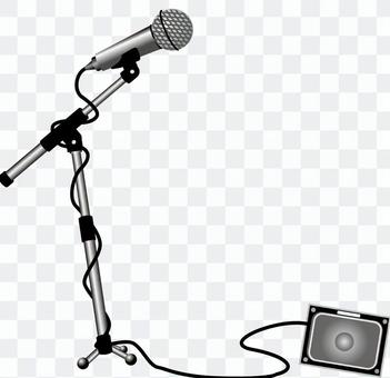 Microphone stand with speaker