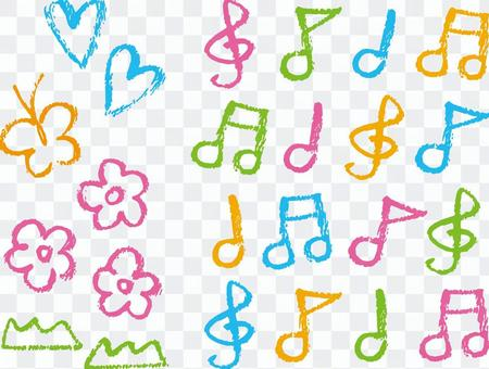 Crayon touch spring and musical notes colorful