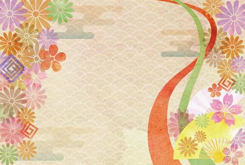 Japanese Pattern Watercolor Frame