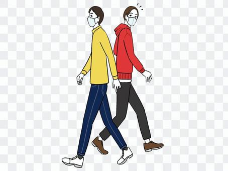 Two people passing each other_mask