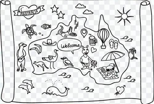 澳大利亞地圖手繪
