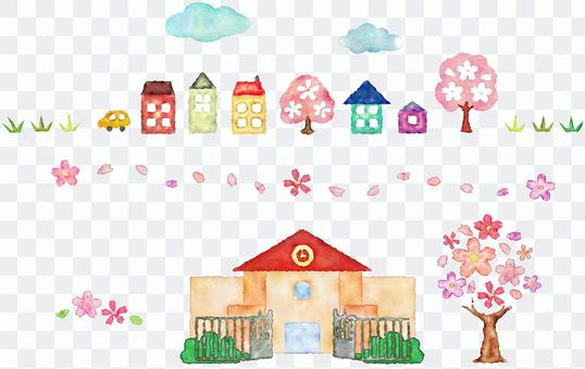 櫻花,學校,藍天,房子和草地的界線