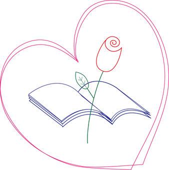 玫瑰和書籍的線條藝術插圖