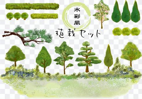 植栽の水彩風セット