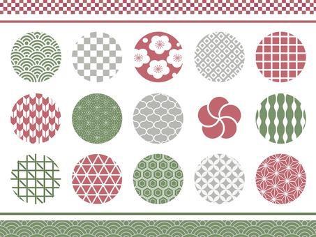 일본식 디자인 차분한 색상의 원 소재