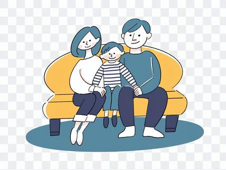 家人圍坐在沙發上