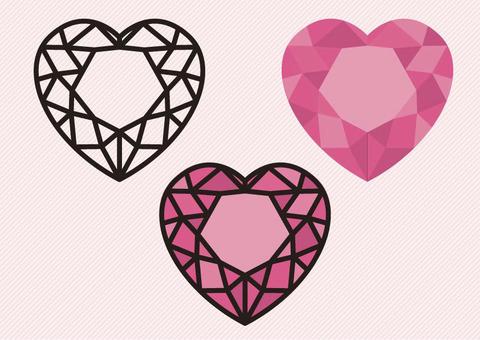 粉紅彩繪玻璃心形鑽石